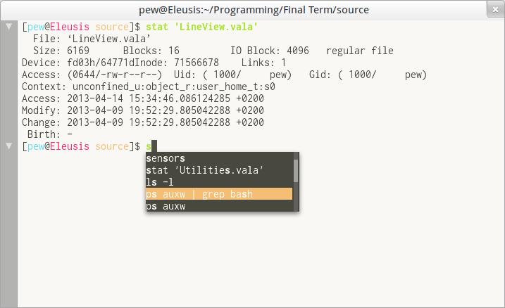 Autocompletion screenshot