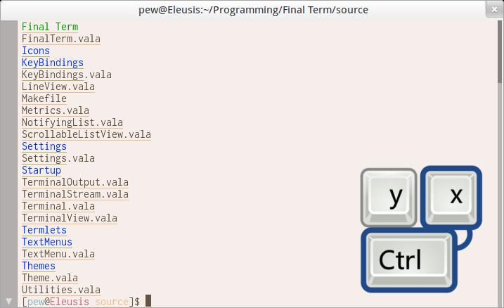 Key bindings screenshot
