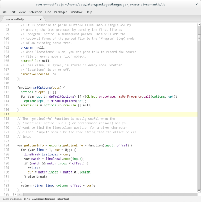 Screenshot with light theme